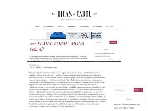 """Divulgação site """"Dicas da Carol"""""""